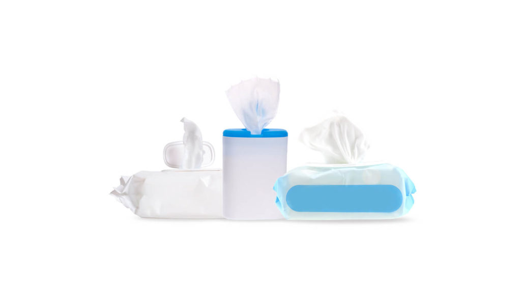 A variety of different cleaning wipes