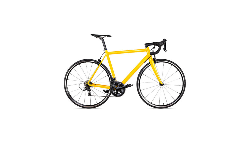 A yellow road bicycle