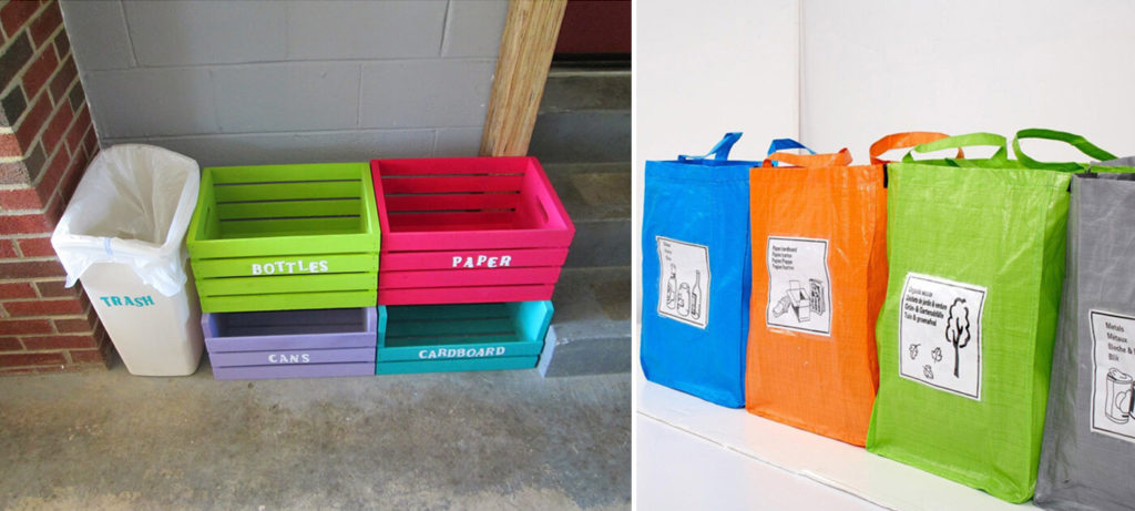 Homemade bins from wooden crates and bags for life