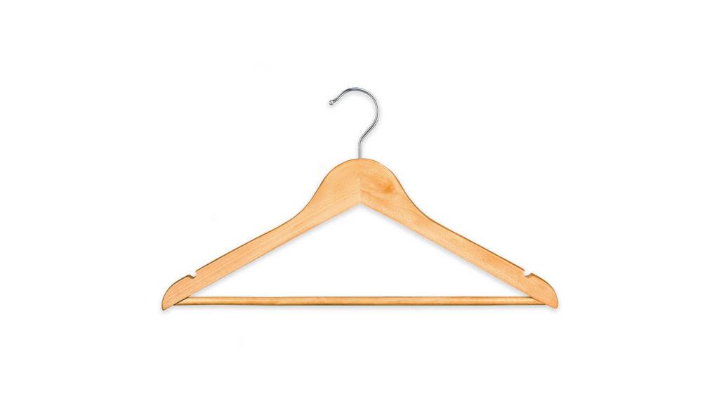 A wooden clothes hanger