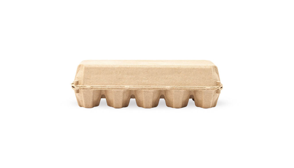 A cardboard egg carton