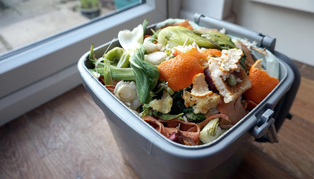 Kitchen caddy with food waste in