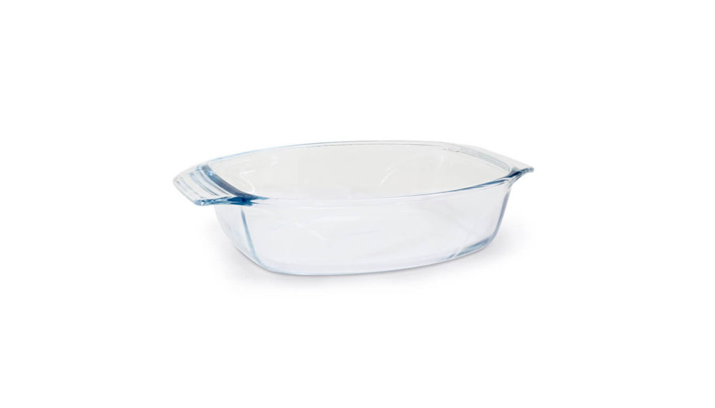 A glass oven dish