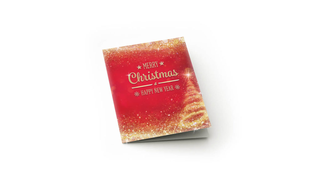 Christmas card with glitter