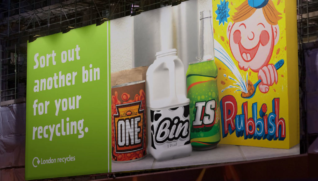 London Recycles One Bin Is Rubbish campaign billboard