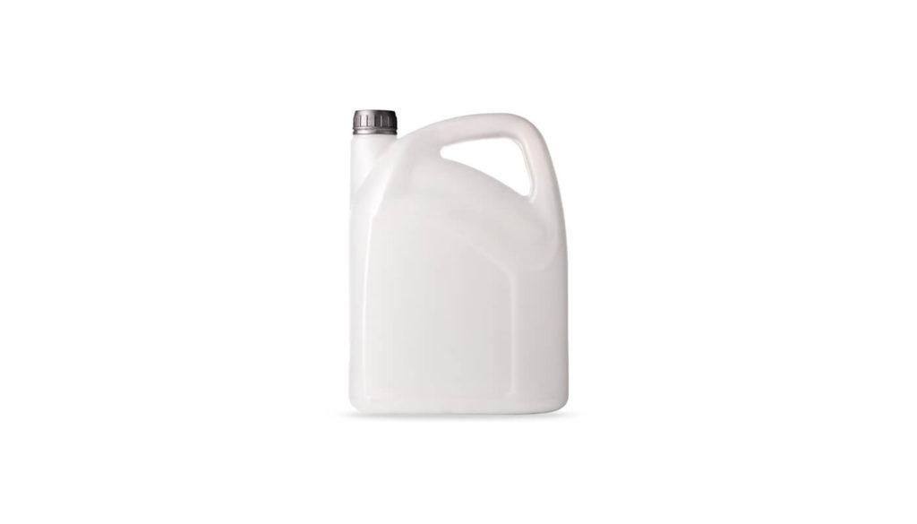A plastic chemical bottle