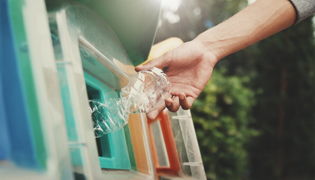 Person putting plastic bottle into recycling bank